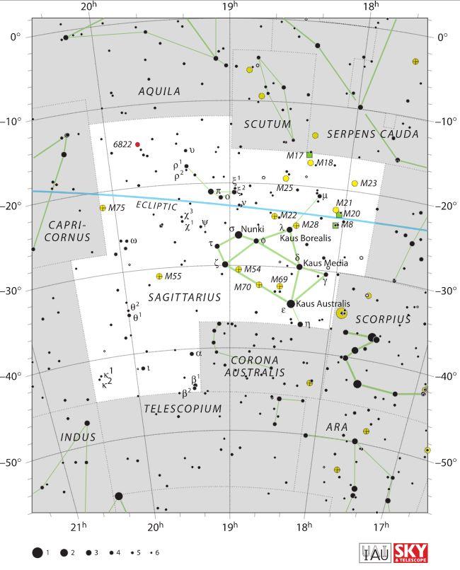 Carte du ciel sagittaire